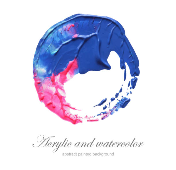 abstract acrylic and watercolor circle painted background. isolated. - abstract logo stock photos and pictures