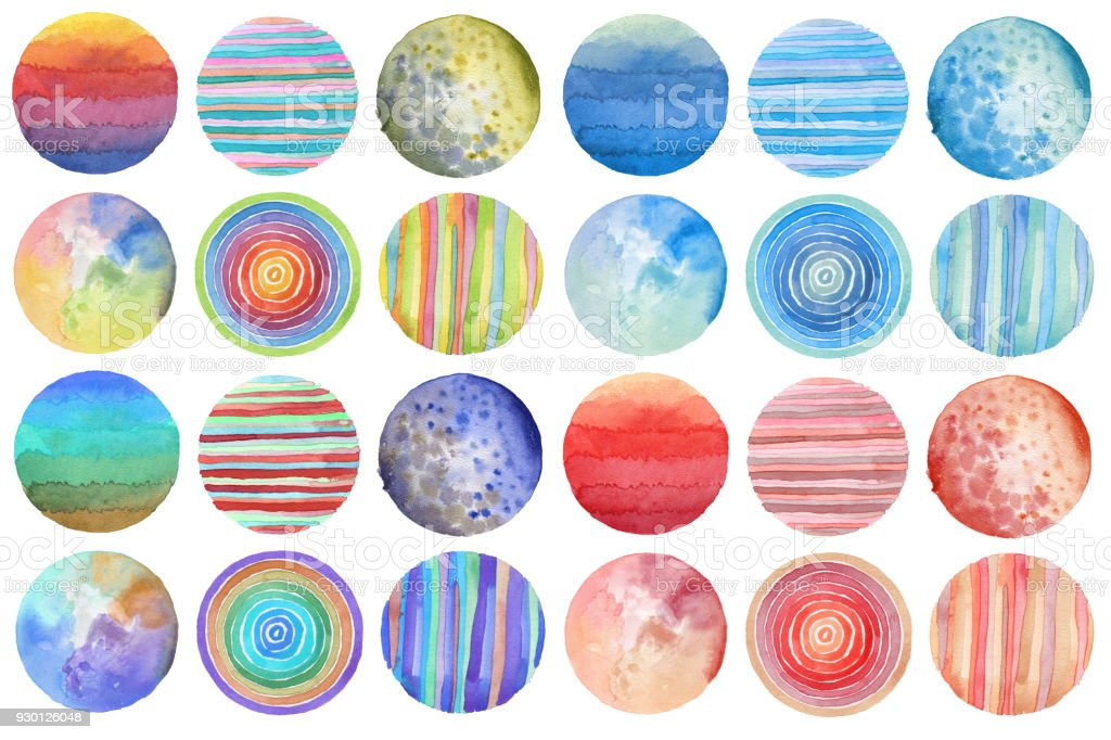 Abstract acrylic and watercolor circle painted background. Texture paper. Isolated. Collection. stock photo
