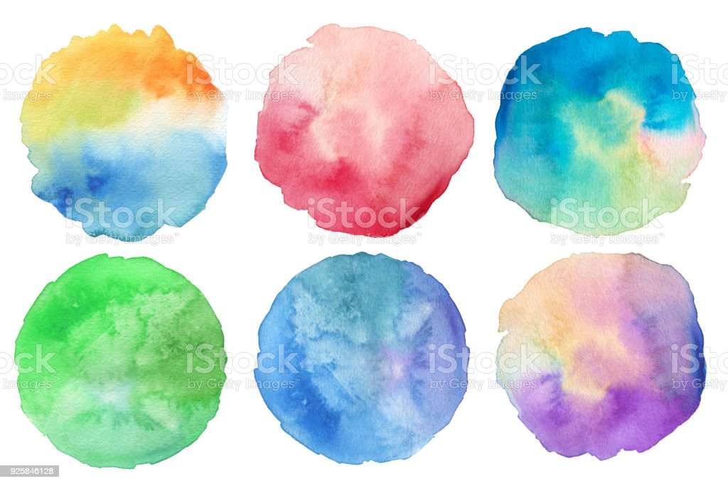Abstract acrylic and watercolor painted circle. Texture paper background. Isolated. Collection. stock photo