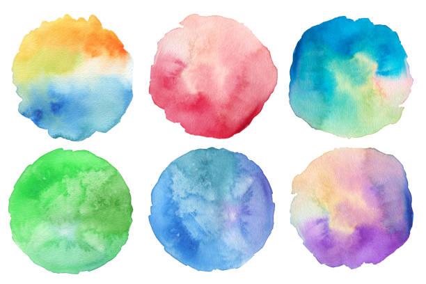 Abstrakt Acryl und Aquarell gemalten Kreis. Papierhintergrund Textur. Isoliert. Kollektion. – Foto