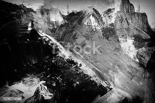 Abstract acrylic mountains on canvas with brush strokes and texture. Black and white. My own work.