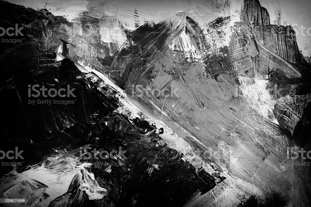 Abstract acrylic - black and white stock photo