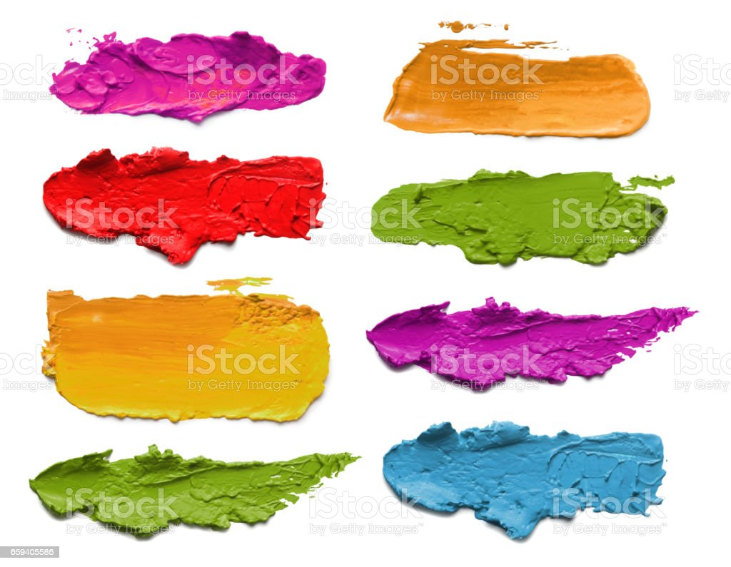 Abstract acrylic color brush strokes. Collection. Isolated on white. stock photo