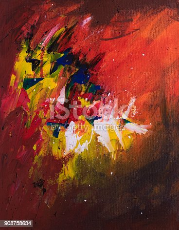 istock Abstract acrylic painting on canvas 908758634