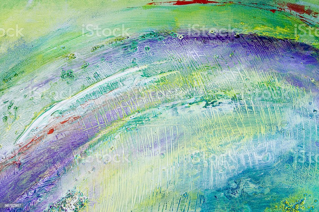 Abstract acrylic painting swatch: green, purple, teal, textured royalty-free stock photo