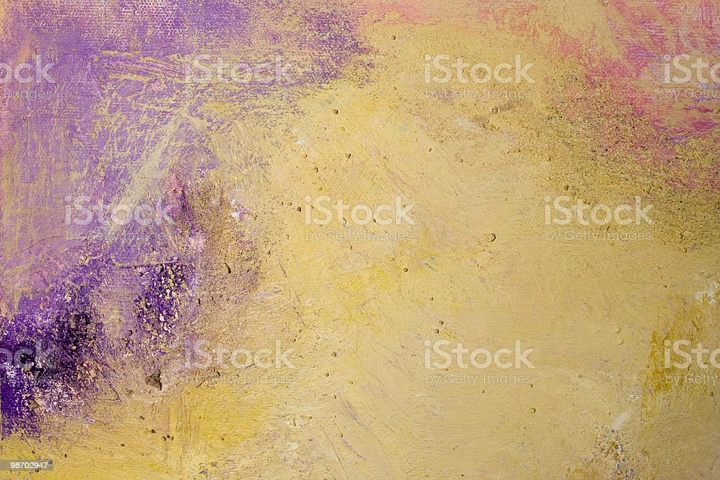 Abstract acrylic painting swatch: purple, ochre, textured royalty-free stock photo