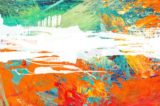 abstrata pintura acrílica texturizada fundo - colorful background - fotografias e filmes do acervo