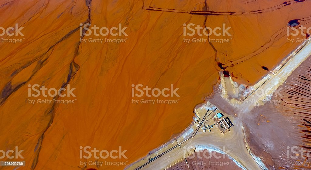 Abstract Aerial View of Red Tailing Ponds with Various Textures stock photo