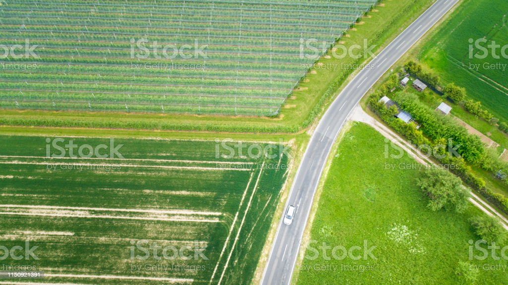 Abstract agricultural area, vegetable plantation and road - aerial...