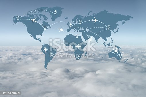 174936437 istock photo Abstract Air Traffic Above the Clouds 1215170499