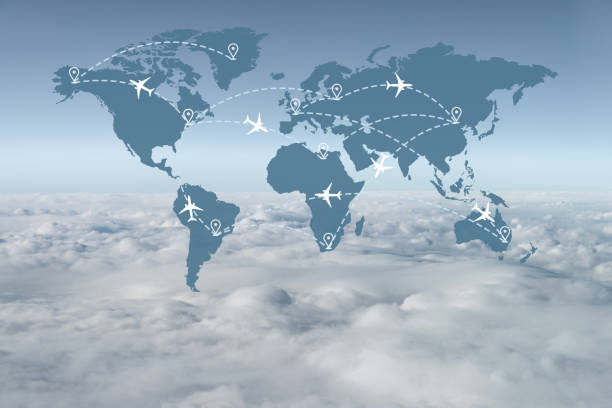 Abstract Air Traffic Above the Clouds stock photo