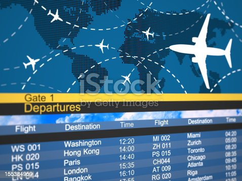 174936437 istock photo Abstract airline schedule and traffic flight board 155384959