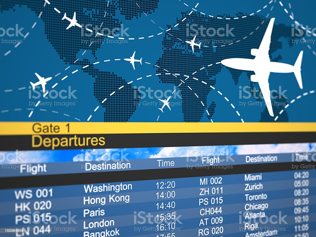 Abstract airline schedule and traffic flight board stock photo