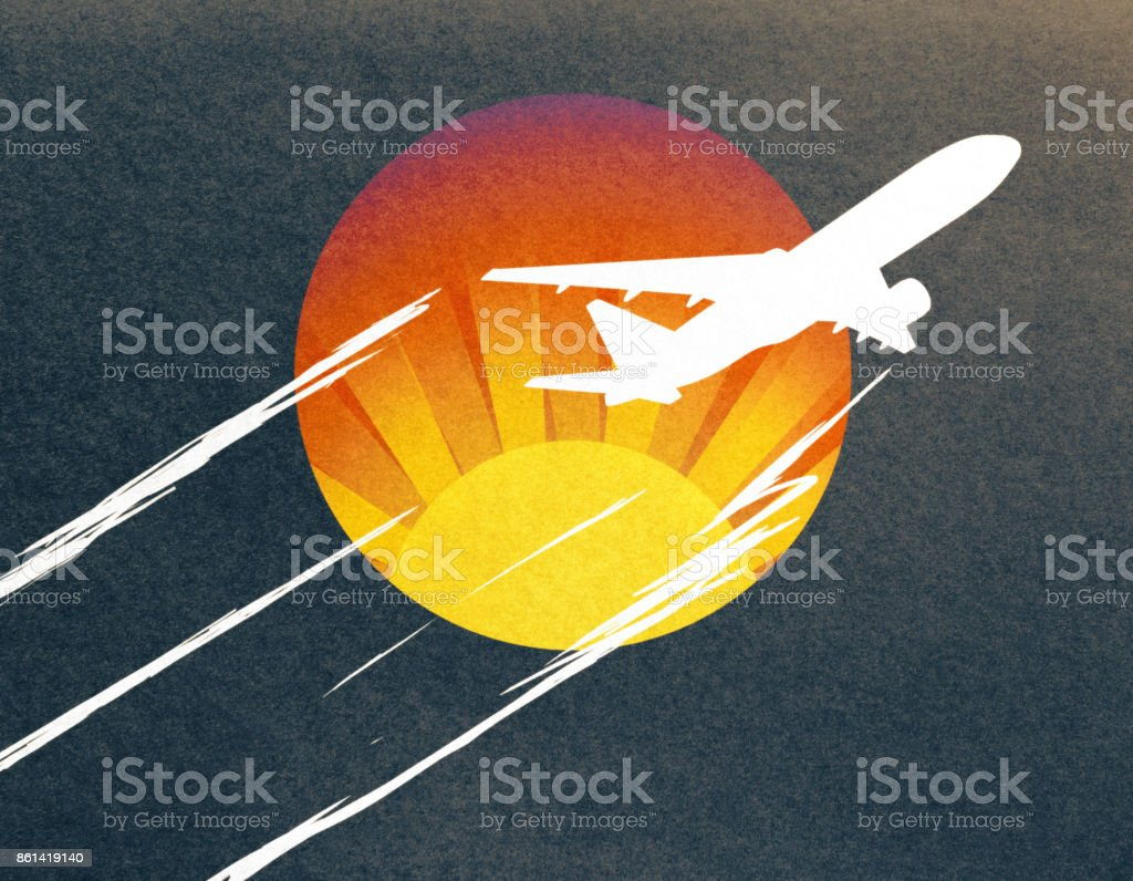 Abstract airplane sketch stock photo