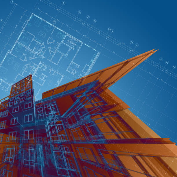 Abstract alrchitectural drawings stock photo
