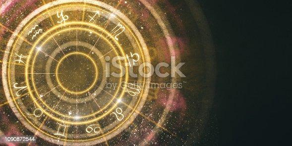 istock Abstract amber zodiac wheel background 1090872544