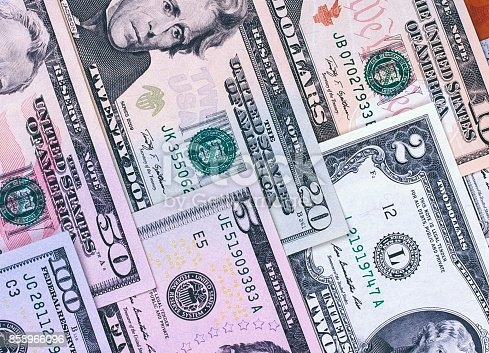 istock Abstract american dollar bills of different denomination background. 858966096