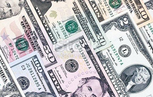 istock Abstract american dollar bills of different denomination background. 861336868