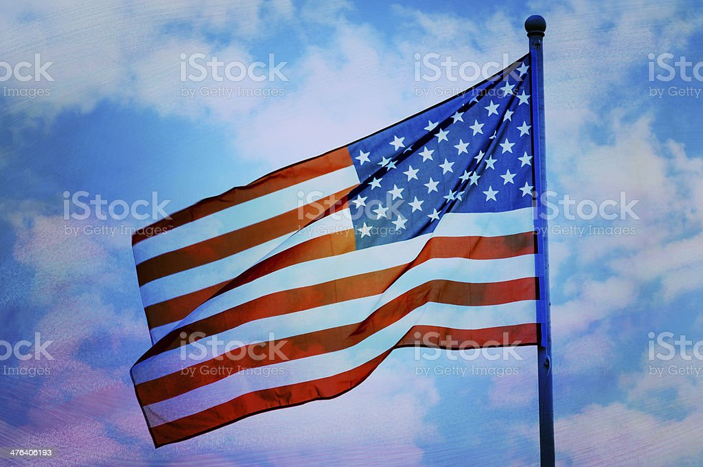 Abstract American flag waving on flagpole royalty-free stock photo
