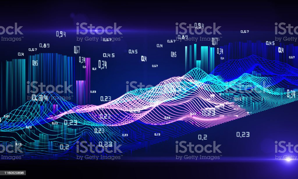 Abstract analysis infographics. Bright wire mesh of the data array....