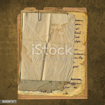 istock Abstract ancient brown background with set old paper 505397077