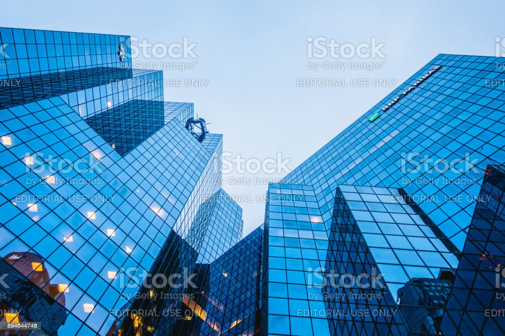 Abstract and Complex Blue Skyscraper Structure Downtown in Montreal. stock photo