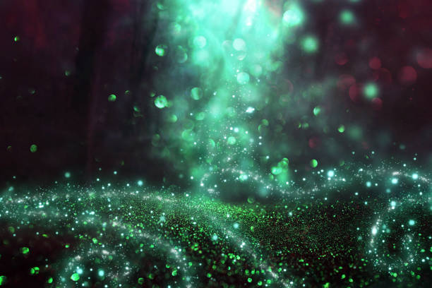 abstract and magical image of glitter firefly flying in the night forest. fairy tale concept. - fairy tale stock pictures, royalty-free photos & images