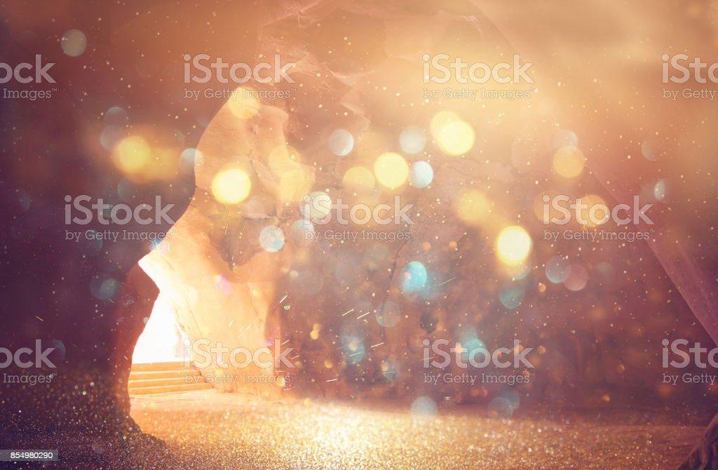 Abstract and surrealistic image of cave with light. revelation and open the door, Holy Bible story concept stock photo