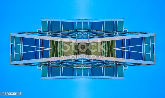istock Abstract angular building in Provo Utah grid 1129039115