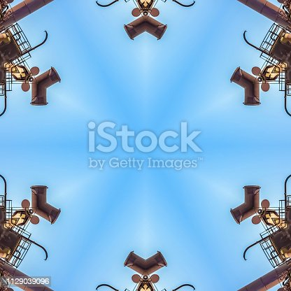 istock Abstract angular shapes made from metal bars 1129039096