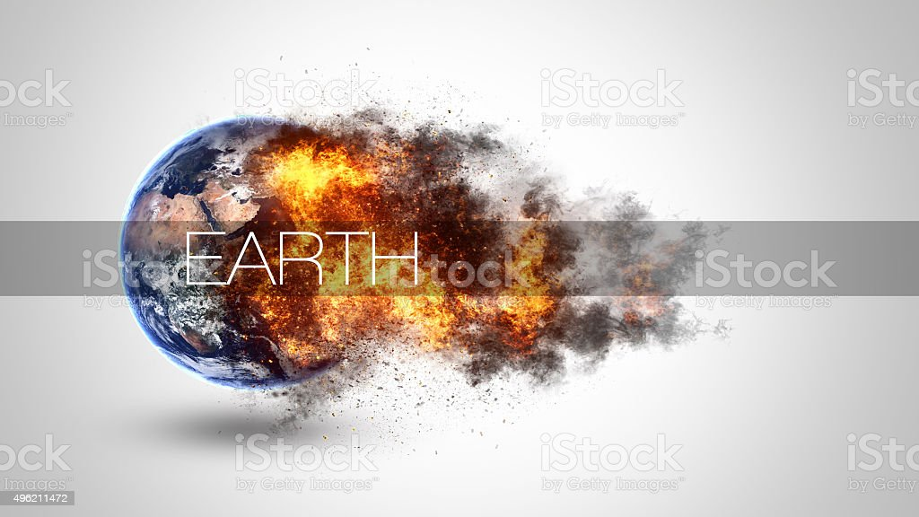 Abstract apocalyptic background - burning and exploding planet Earth. Elements stock photo