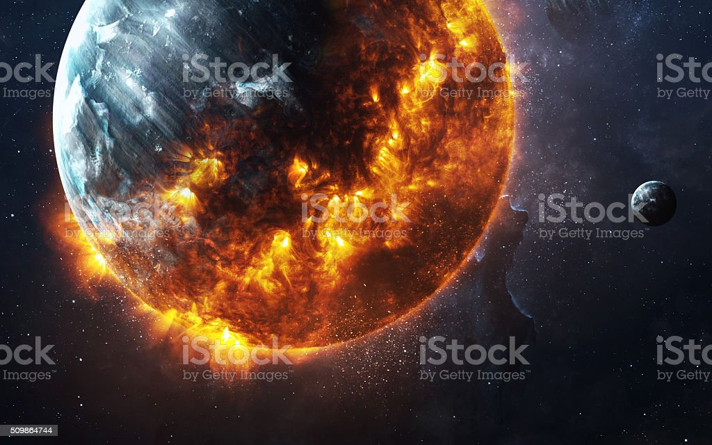 Abstract apocalyptic background - burning and exploding planet . This image stock photo