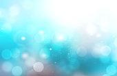 Underwater abstract blue blurred bokeh background.Aqua water teal color ocean glitter illustration.Sea travel resort wallpaper.
