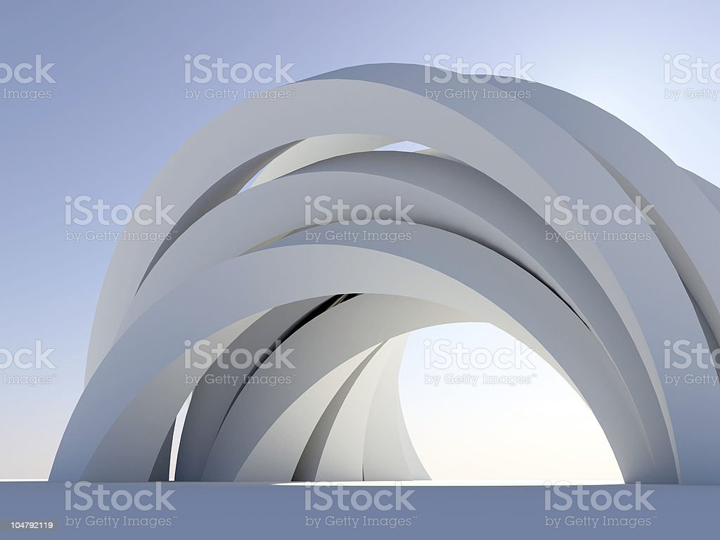 Abstract arch on blue stock photo