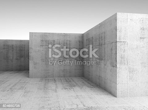 Abstract architectural 3d background with white concrete empty room interior