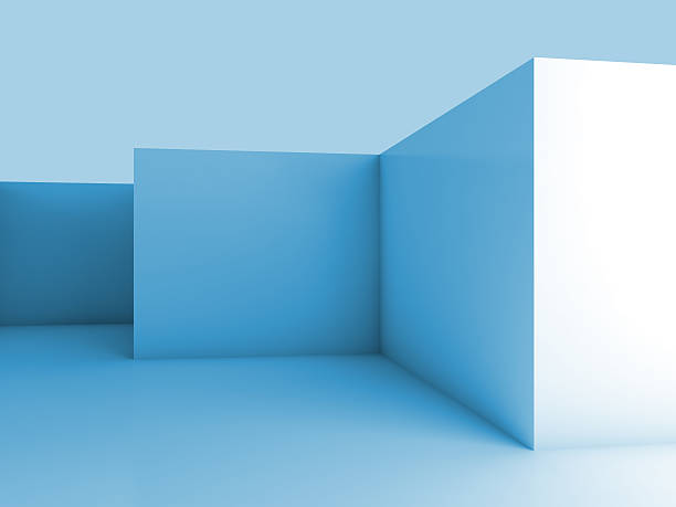 abstrakt architektur 3d hintergrund mit blauer leer innenraum - hellblaues zimmer stock-fotos und bilder