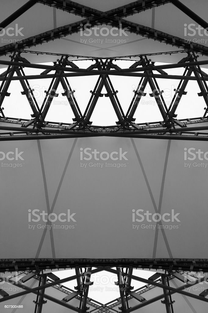 Abstract architectural composition generated by double exposure of modular ceiling stock photo