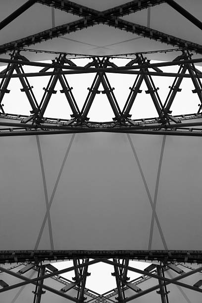 Abstract architectural composition generated by double exposure of modular ceiling - Photo