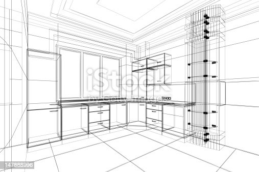 istock Abstract architectural drawing of a kitchen 147888996