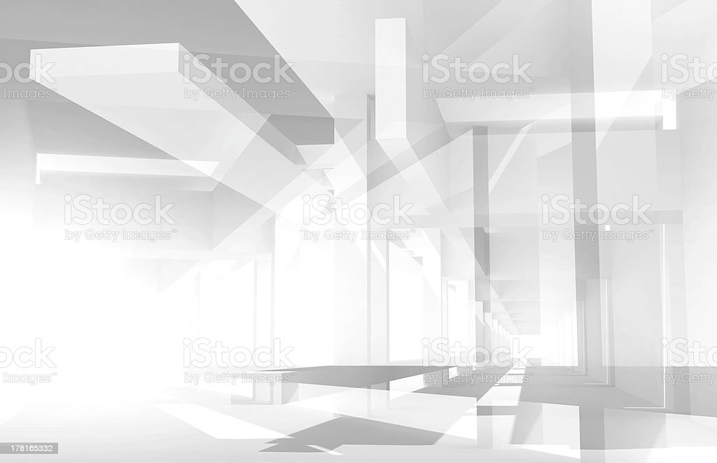 Abstract architecture 3d background with perspective view of chaotic construction stock photo
