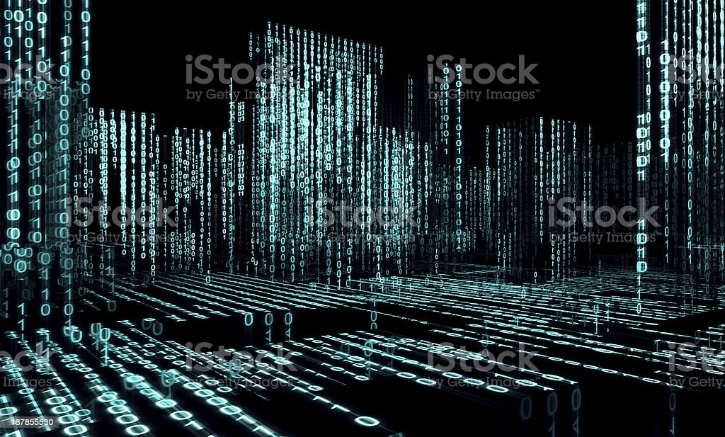 Abstract architecture and binary code stock photo