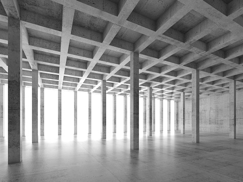 Abstract architecture background with perspective view of empty concrete room, 3d illustration