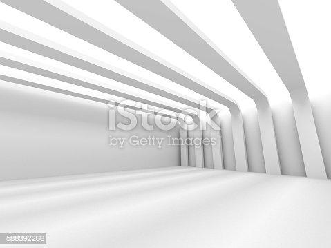 istock Abstract Architecture Background. Empty White Futuristic Room 588392266