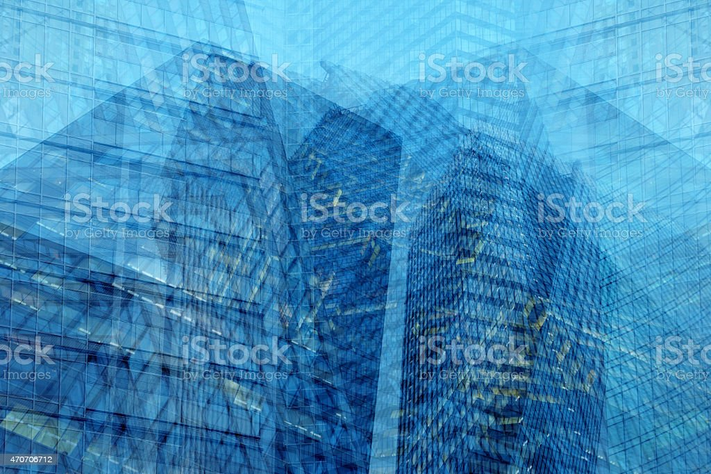 Abstract architecture background with blue office skyscrapers, multiple exposure effect stock photo