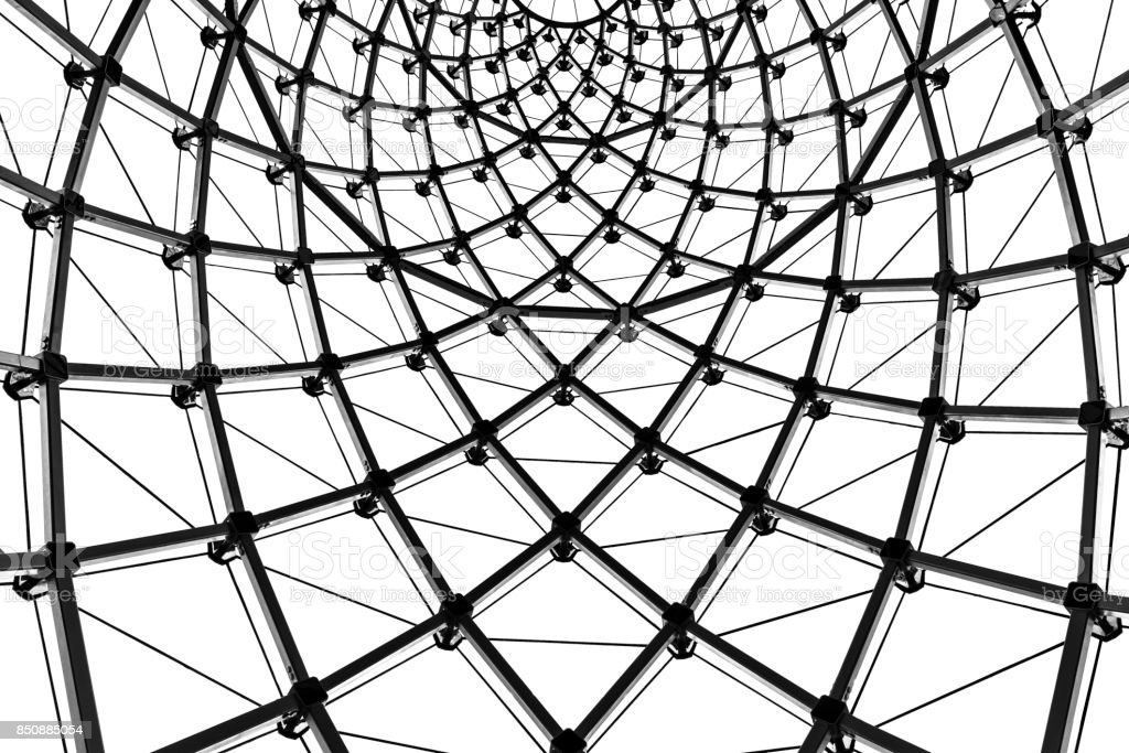 abstract architecture curved steel beam glass roof in black and Steal Beam abstract architecture curved steel beam glass roof in black and white royalty free stock photo