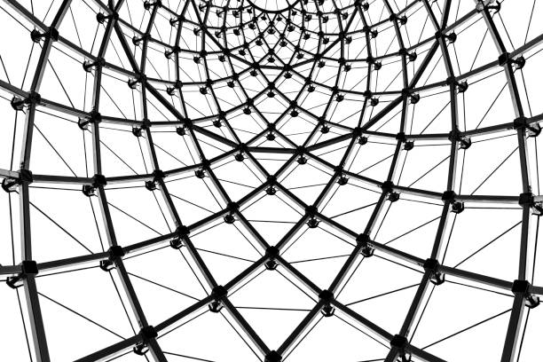 abstrakt architektur gebogene stahlträger glasdach in schwarz / weiß - dachformen stock-fotos und bilder