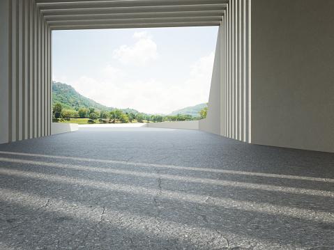 3D rendering background image for car scene.