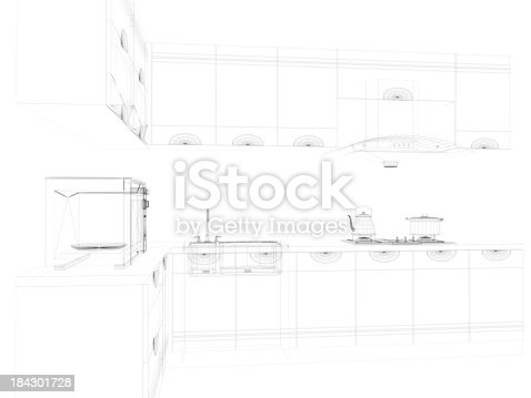 istock abstract architecture Domestic Kitchen  2 184301728