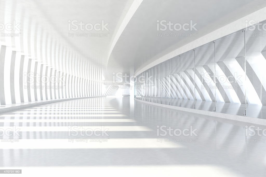 Abstract architecture empty corridor with white columns and sunlight
