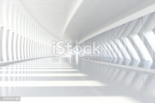 istock Abstract architecture empty corridor with white columns and sunlight 470731180